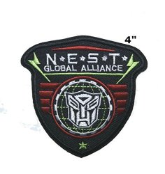 """Superheroes Brand Cartoon N.e.s.t. Global Alliance - 4"""" - Transformers Movie Tv Embroidered Sew Or Iron-on Patch Badge Diy Application Appliques"""