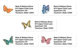 Artistic Labels Bright Butterflies Assorted Set Of 215 Sheeted Address Labels