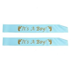 Wresty 2 Pcs Baby Shower Party Satin Ribbon Baby Shower Party Favour Decoration Sash Banner It's A Boy