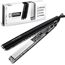 Corioliss C1 Professional Titanium Flat Iron Platinum Zebra 2 Year Warranty Best 1 Titanium Plates Hair Styling Iron Anti-static