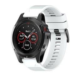 SUKEQQ For Garmin Fenix 5X Gps Watch Sukeq Quick Release Soft Silicagel Replacement Kit Band Strap White