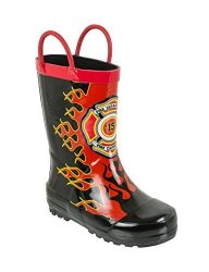 Rainbow Daze Captain Flame Fire Chief With Flames Printed Rubber Rain Boots For Kids Size 13 1