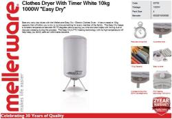 """Mellerware Clothes Dryer With Timer White 10KG 1000W """"easy Dry"""