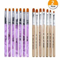 14 Wokoto Pcs Nail Brush Pen Set Uv Gel Acrylic Nail Art Tips Builder Brush Nail Painting Brush Pen Kit