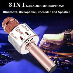 Wireless Microphone And Speaker Recorder 3 In 1 Kids Karaoke Microphone Bluetooth Portable Sing Karaoke Machine With Multi-color LED Lights Electronic Gift For Kids