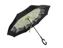 Reversible Umbrella With Design - White Peony