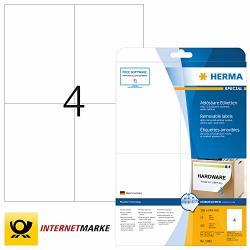 Herma 5082 105X148MM Movables Colour Laser Paper Removable Rectangular Labels - Matte White 100 Labels 4 Per Sheet
