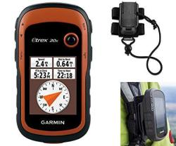 Garmin Etrex 20X Hiking Gps Bundle With Backpack Tether Mount Gps glonass Handheld Paperless Geocaching 65K Color Display