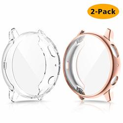 EZCO 2-PACK Screen Protector Case Compatible With Samsung Galaxy Watch Active 2 40MM 44MM Plated Soft Tup Case Full Coverage Screen Protective Cover