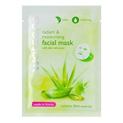 Watsons Radiant & Moisturising Facial Mask With Aloe Vera Juice 30 Ml. 3 Pack