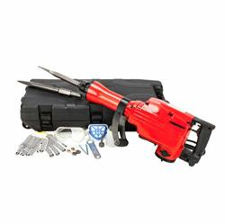 "Fch 2200W 1-1 8"" Heavy Duty Electric Demolition Jack Hammer Drill Concrete Breaker Power Tool Kit With 2 Chisel 2 Punch Bit Set"