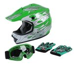 Tct-mt Youth Helmet Mx+goggles+gloves Kids Green Flame Dirt Bike Atv Motocross Large