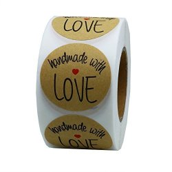 """Hybsk Tm 1.5"""" Inch Round Natural Kraft Handmade With Love Stickers With Black Font Total 500 Adhesive Labels Per Roll 1 Roll"""