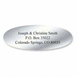 "Silver Foil Oval Address Labels - Set Of 240 2"" X 3 4"" Self-adhesive Flat-sheet Labels By Colorful Images"
