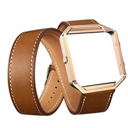 Voberry Luxury Long Leather Double Ring Watch Band Wrist Strap + Metal Frame For Fitbit Blaze Smart Watch Brown