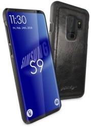 Tuff-Luv Alston Craig Genuine Vintage Leather Magnetic Shell Case For Samsung Galaxy S9 Plus Black