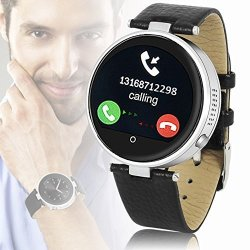 InDigi Gift Idea Unisex Bluetooth Smart Watch Phone Stylish Metal Case Leather Band Water Resista