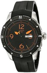 Tissot Men's 't Navigator' Black orange Dial Black Rubber Strap Dateday Automatic Watch T062.430.17.057.01