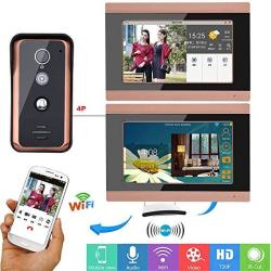 GAMWATER 7INCH 2 Monitors Wired Wifi Video Door Phone Doorbell Intercom Entry System With 1000TVL Wired Ir-cut Camera Night Vision Support Remote App