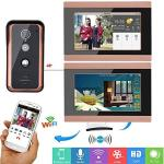GAMWATER 7INCH 2 Monitors Wired Wifi Video Door Phone Doorbell Intercom Entry System With 1000TVL Wired Ir-cut Camera Night Visi