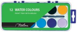 Treeline Watercolour Paints Tray Of 12 Assorted Colours With Brush