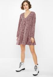Missguided Button Through Smock Dress Long Sleeve Dalmatian - Blush