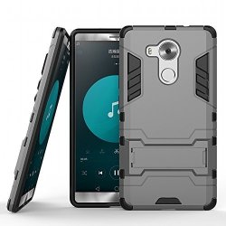 DWay Huawei Mate 8 Armor Case Box 2 In 1 Hybrid Heavy Duty Hard Back Cover Case For Huawei Mate 8 Stand Case With Kickstand Gray