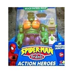 Spider-man & Friends Beach Patrol Hulk Action Figure With Life Preserver Launcher By Toy Biz