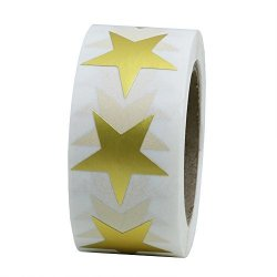 Hybsk Tm Gold Star Shape Paper Sticker Labels Packaging Seals Crafts Wedding Favor Tag Labels 500 Total Per Roll 1 Roll