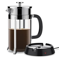 BREVO 8 Cup French Press Coffee Tea Maker With 35W Electric Warmer Sliver Pot
