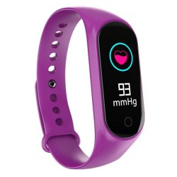 SADI Store Bakeey M4S Heart Rate Blood Pressure Oxygen Monitor Multi-sport Modes Call Rejection USB Charging Smart Watch - Purple