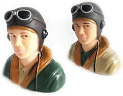 Rc Plane Pilot Toy Wwii Pilots Figure For Rc Model Plane L67W40H66MM 1 6 Scale Pilots Brown army Green