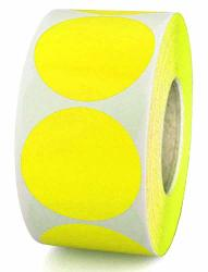 "Top Label 2"" Yellow Color-coding Dot Sticker Labels Permanent Adhesive Write On Surface - 500 ROLL"