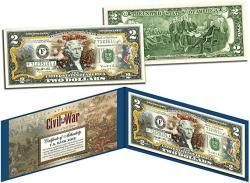 USA Battle Of Bull Run American Civil War Collectible Art Two-dollar Bill With Certificate