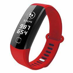 FreshZone Men Women Waterproof Wrist Watch Bluetooth Smart Watch Bracelet Wristband Pedometer Sport Fitness Tracker Red