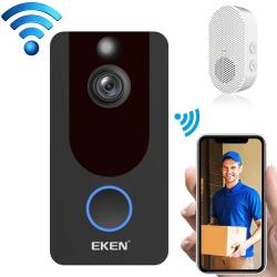 Eken V7 1080P Wireless Wifi Smart Video Doorbell Support Motion Detection & Infrared Night Vision & Two-way Voice Package 2: Doorbell + Chime Black