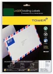 Tower C110 Mailing Inkjet-laser Labels - Green - Pack Of 25 Sheets