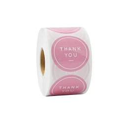 """Paperlily Thank You Stickers - 1.5"""" 500 Pink Labels Per Roll"""