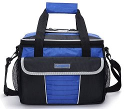 MIER Large Soft Cooler Bag Insulated Lunch Box Bag Picnic Cooler Tote With Dispensing Lid Multiple Pockets Black And Blue