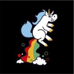 Unicorn Fart Mens Black T-Shirt Large