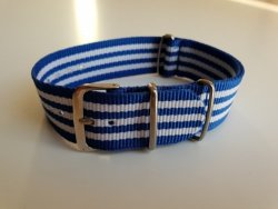 22MM Nato Watch Strap Blue white