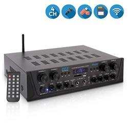 Karaoke 500W Wireless Bluetooth Amplifier - 4 Channel Stereo Audio Home Theater Speaker Sound Power Receiver W Aux In Fm Rca Su