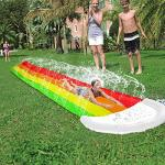 15 Ft Rainbow Water Slide For Outdoor Play Giant Children's Water Slide With Splash Lagoon And Crash Pad Backyard Waterslide Sli