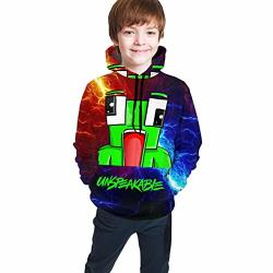 Giphojo Un-speakable Youth Unisex Hoodie Sweatshirts Tees Polyester 3D HD Double-sided Print Pullover Clothes With Pocket For Teens Boys girls teen kid's Black 14-16 Years
