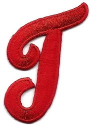 """Letters - Red Script 2"""" Letter """"t"""" - Iron On Embroidered Applique Diy Article Of Clothing"""