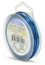 Beadalon Artistic Wire 18-GAUGE Silver Plated Peacock Blue Wire 20-FEET