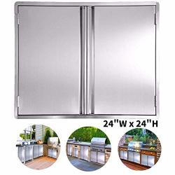 CIOGO Bbq Access Door 24X24 Inch Double Wall Outdoor Kitchen Door 304 All Brushed Stainless Steel Double Bbq Door For Bbq Island Outside Cabinet