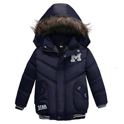 Sunbona Toddler Baby Boys Autumn Winter Down Jacket Coat Warm Padded Thick Outerwear Clothes 2T 12 18MONTHS Dark Blue 1