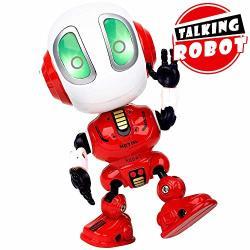 Inlaier MINI Talking Robot Toys Robots Toy For Kids Boys Girls Metal Talking Robot Kit Bright LED Toys Interactive Voice Changer Robot Travel Toys Red