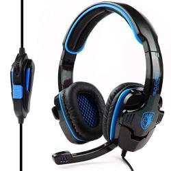 Ovann Sades SA-708 Professional 3.5MM Stereo Headset Headband PC Notebook Pro Gaming Headphone - Black blue